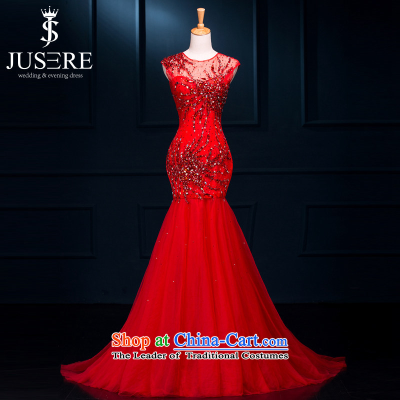 There is set so dress�new 2 2015 shoulder round-neck collar long small trailing bride services banquet evening drink chinese red�6