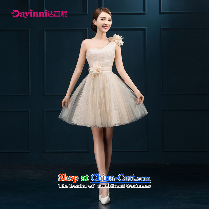 Short of evening dresses 2015 new marriages champagne color bridesmaid dress shoulder small white�L Female dress