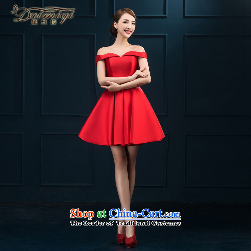 The first field shoulder banquet dresses 2015 new short summer evening dress) Gathering of Female dress bride bows Services Red Red M