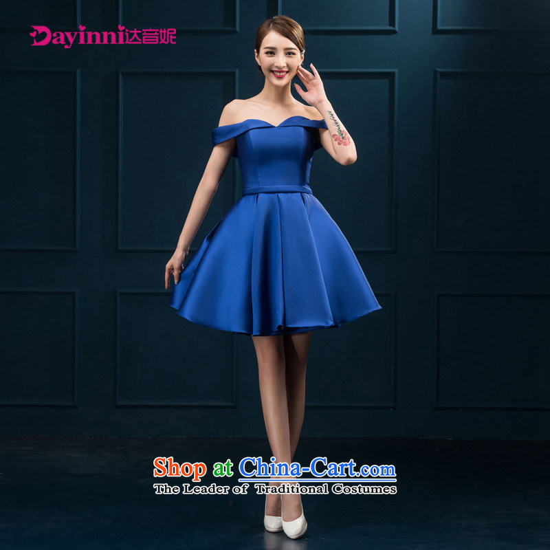 The first field shoulder banquet dresses 2015 new short summer evening dress) Gathering of Female dress bride bows to red or blue color?L