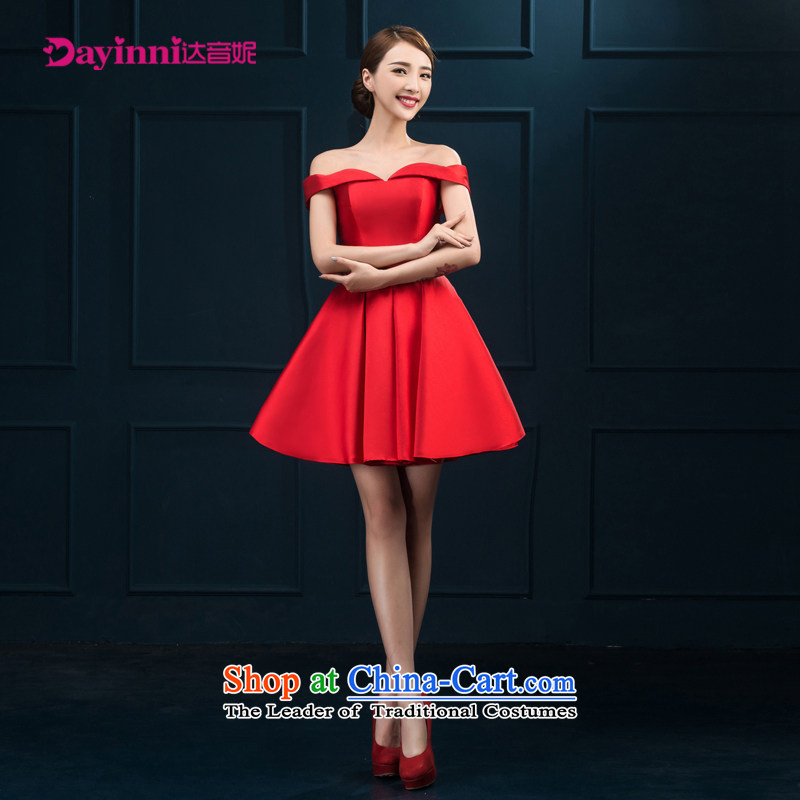 The first field shoulder banquet dresses 2015 new short summer evening dress) Gathering of Female dress bride services red red�XXL toasting champagne