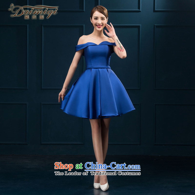 The first field shoulder banquet dresses 2015 new short summer evening dress) Gathering of Female dress suit blue�S