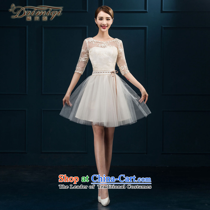 2015 new bridesmaid services serving the summer short of bows in cuff bridesmaid skirt evening dress married women chairpersons dress female champagne color�L