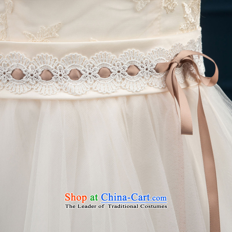 2015 new bridesmaid services serving the summer short of bows in cuff bridesmaid skirt evening dress married women chairpersons dress female champagne color聽, L, M Qi , , , diana shopping on the Internet