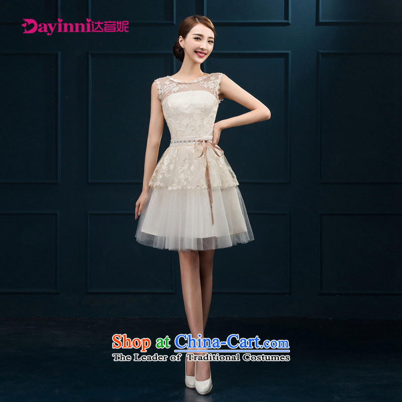 Bridesmaid services during the summer New Service Bridal bows 2015 wedding dress short of the betrothal of girls spring evening dress shoulder White�XXL