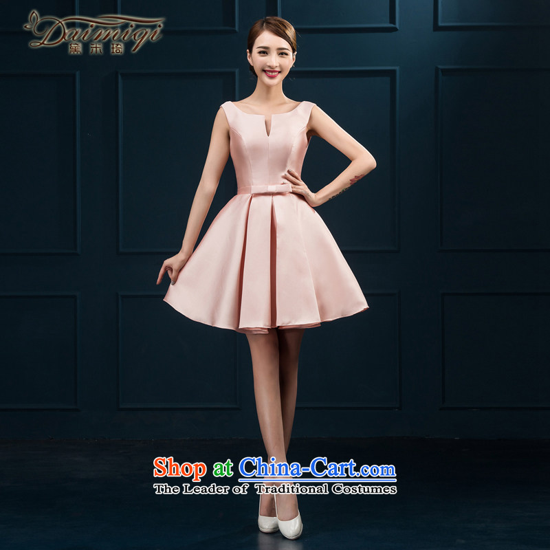 Bridesmaid Services 2015 NEW Summer Package shoulder bridesmaid mission dress Female dress short skirt, bows to the summer bride champagne color�XL