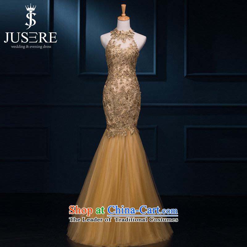 There is a record of autumn 2015 new bride dress bows to Sau San crowsfoot long gown shoulders courage empty banquet dinner dress Gold high-end custom contact customer service