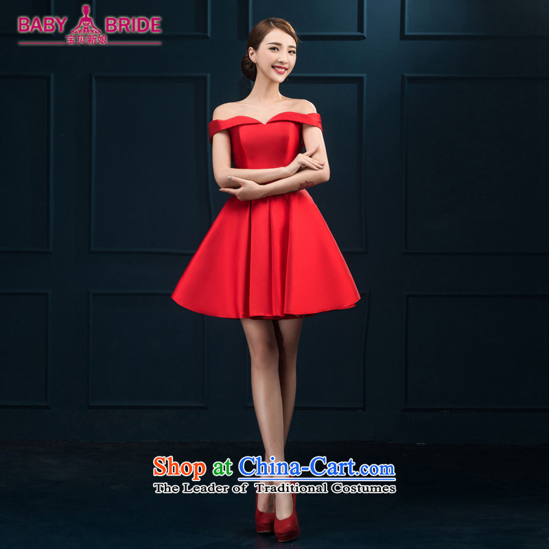 The first field shoulder banquet dresses 2015 new short summer evening dress_ Gathering of Female dress bride bows services red red?S