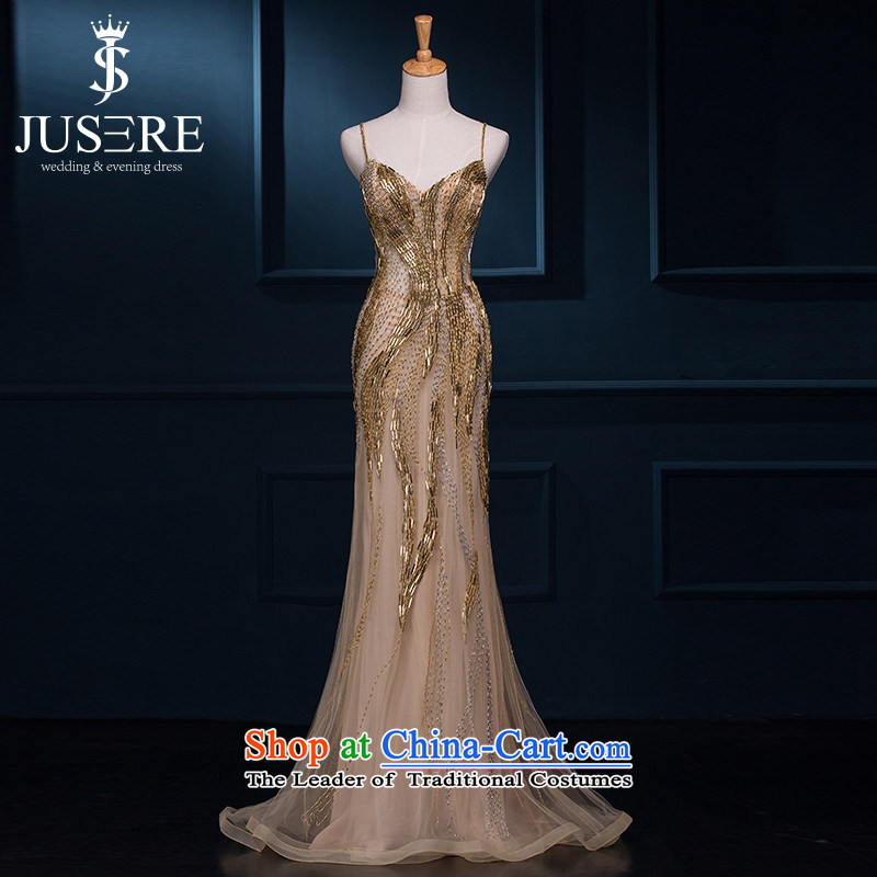 There is a charming and wedding dresses shoulders evening dresses banquet moderator dress gold long marriages bows to gold聽10