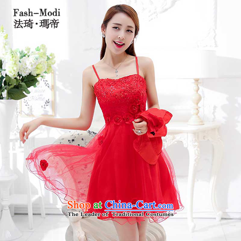 The law was in Dili 2015 Qi new bridesmaid marriages bows evening dresses female red long spring and summer wedding dresses, wedding package back to the door to red 1752D 2XL