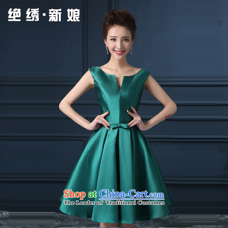 Summer 2015 new Korean short of the shoulders, large video thin bride banquet dinner dress uniform green�XXXL Sau San bows�Suzhou Shipment