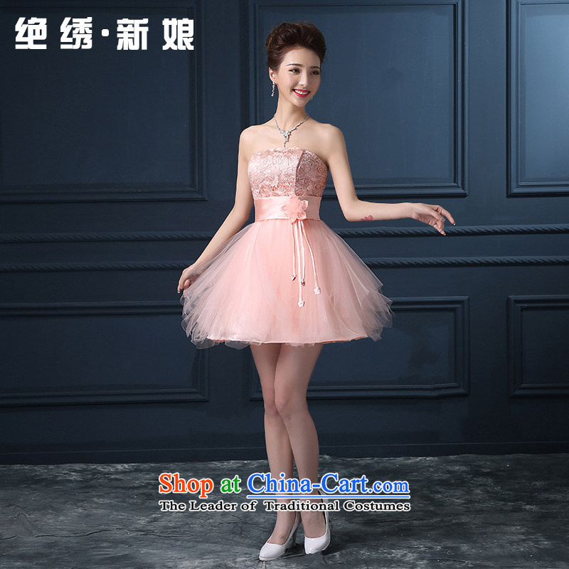 Summer 2015 new Korean shoulders bridesmaid short of marriages banquet evening dresses pink XL Suzhou Shipment