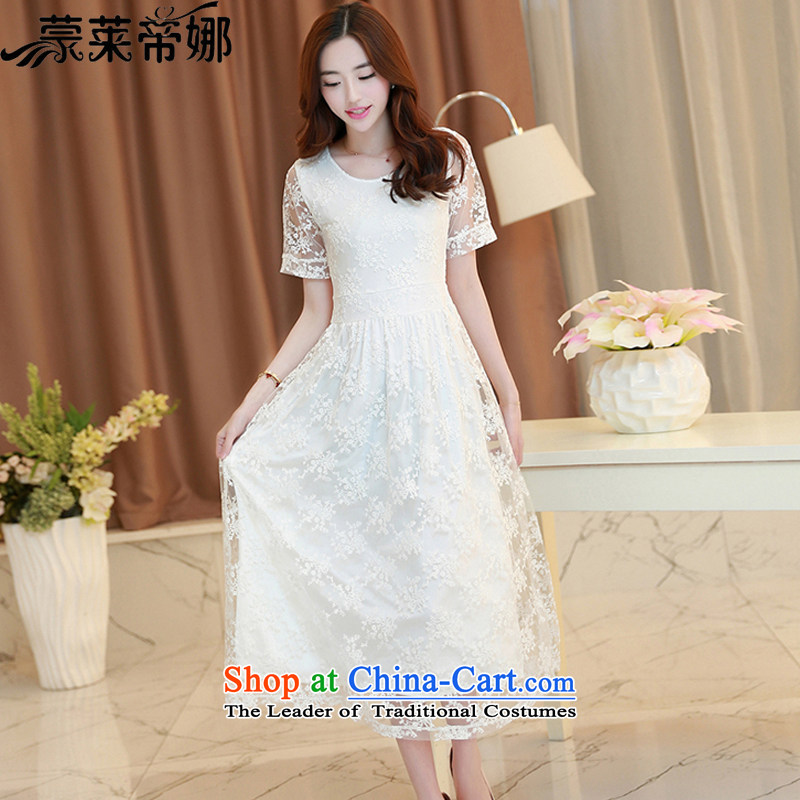The 2015 Dili Blair Monrovia Amoi for women short-sleeved video thin Foutune of embroidery lace dresses female temperament lady dress long skirt 647 white?S