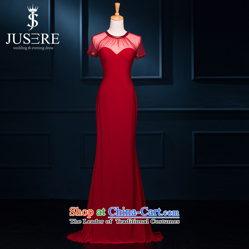 There is a red wedding dresses winter 2015 new red stylish Korean marriages bows banquet long evening dress chinese red?2 code