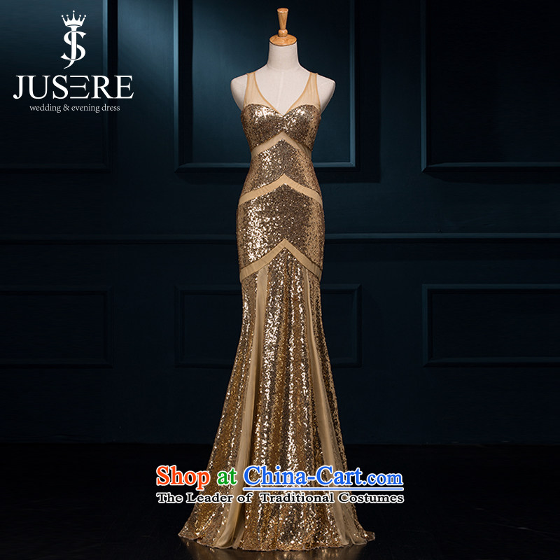 No star wedding dresses UNIFIL 2015 new long bows service banquet bride evening dress shoulders crowsfoot auspices dress?code 10 Gold