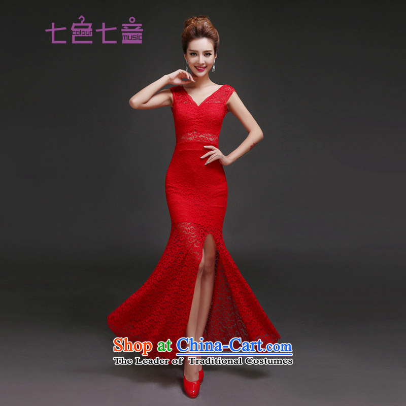 7 Color 7 tone Korean New 2015 long annual meeting of the persons chairing the Korean clothing company banquet party dress?L022 Ms.?RED?M