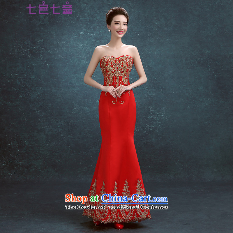 7 Color 7 tone Korean New anointed chest 2015 Long marriages bows service, evening dresses wedding dresses�L042�Red tailored (non-refundable)