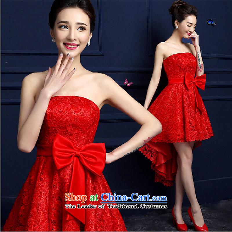 The new 2015 serving bows stylish bride wedding dress spring and summer, before the length of the red after the short length dress female red?XXXL