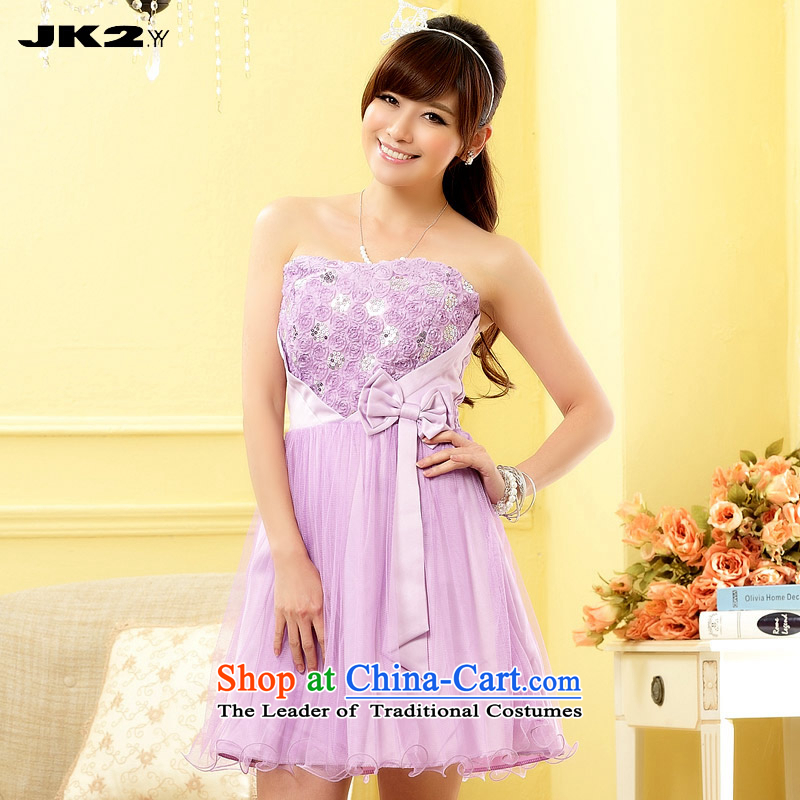 2015 new expertise JK2 MM larger wiping the chest bridesmaid skirt gauze bon bon skirt short of dress solid color dresses purple?XL recommendations about 125