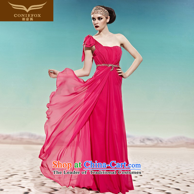 Creative Fox evening dresses red single shoulder bride wedding dress banquet services under the auspices of the annual bows dress long thin to align graphics dresses 58010 picture color?L