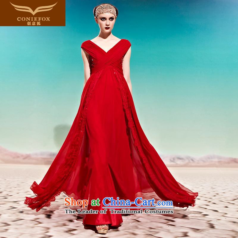 Creative Fox evening dresses and sexy Deep v red bride wedding dress evening drink service banquet will bridesmaid dress long skirt 58001 picture color?L