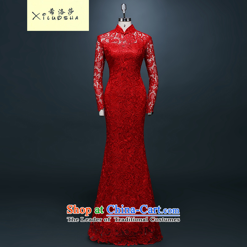 Hillo Lisa (XILUOSHA) Marriage cheongsam dress lace bride bows long winter clothing stylish wedding dresses Chinese New Year 2015 crowsfoot winter chinese red long skirt long-sleeved?L