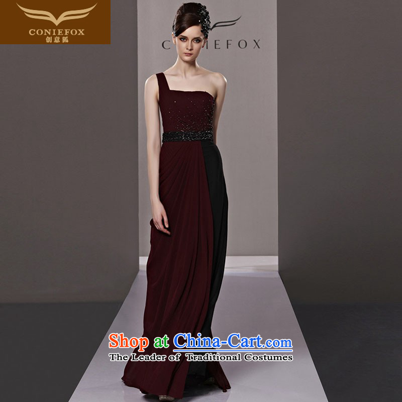 Creative Fox evening dresses red dress bride winter clothing single shoulder length toasting champagne evening dress_ to align the noble annual meeting under the auspices of evening dresses?81335?picture color?XXL