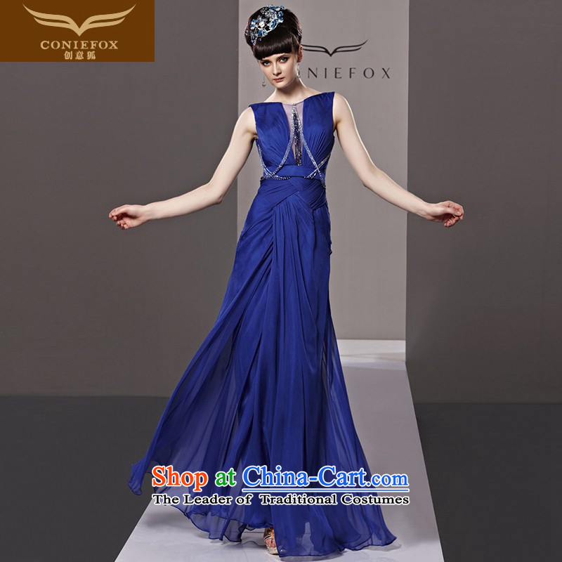 Creative Fox evening dress blue bows to stylish and elegant long gown skirt bridesmaid evening banquet in Europe and America under the auspices of the annual dress?81328?color pictures dress?L