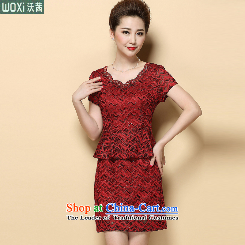 Mrs Ure?2015 Summer Kosovo mother Sau San short-sleeved dresses temperament leave two kits Wedding 6385 Red?XL