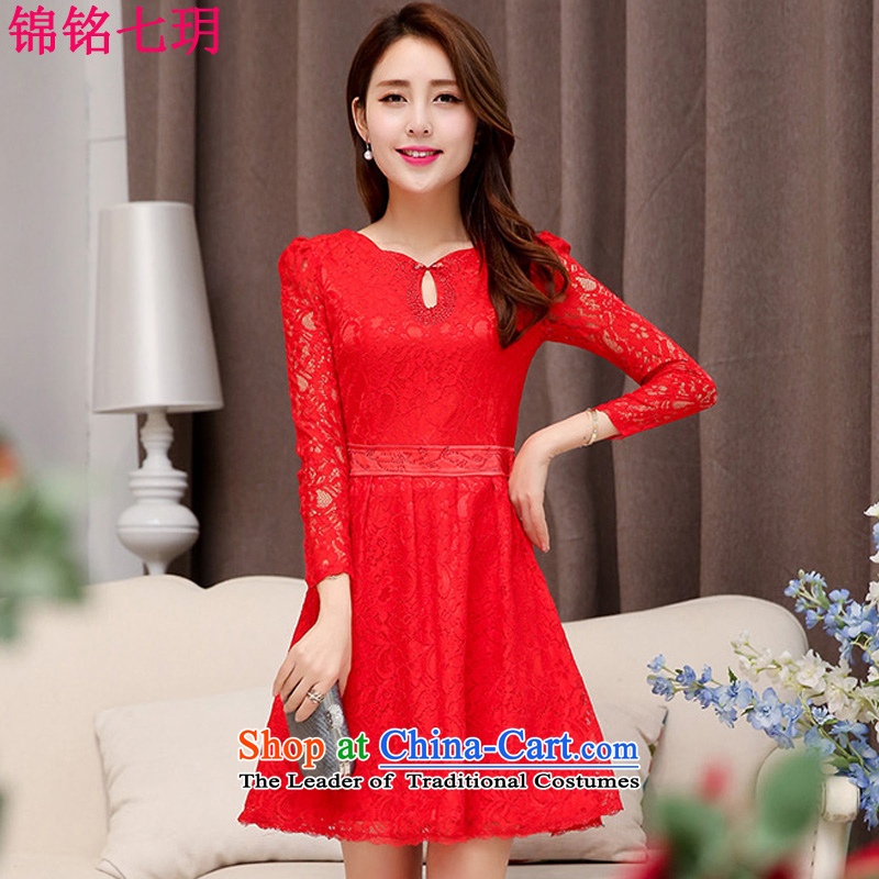 Kam Ming Yue?2015 new seven short of red marriages wedding dresses bows bridesmaid services serving evening dresses red?L