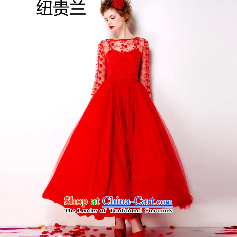The estimated 7072_ NZ large red embroidered dress 2015 Antique Lace red petticoat bride 9 m large long skirt dress red?XXL