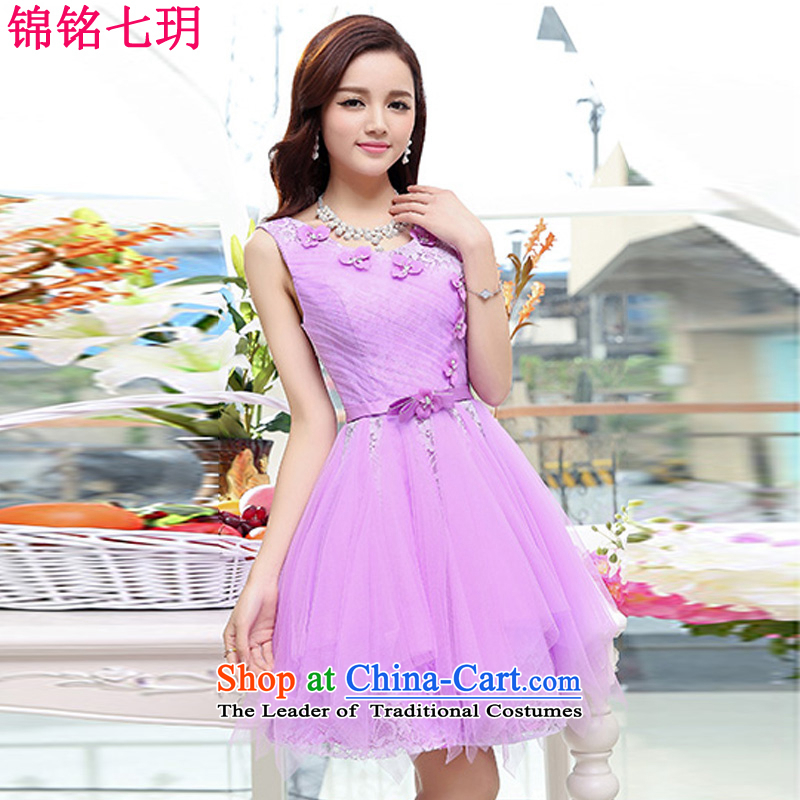 Kam Ming Yue 2015 summer seven new irrepressible wedding dresses bows services evening dress short of Ms. banquet service purple L