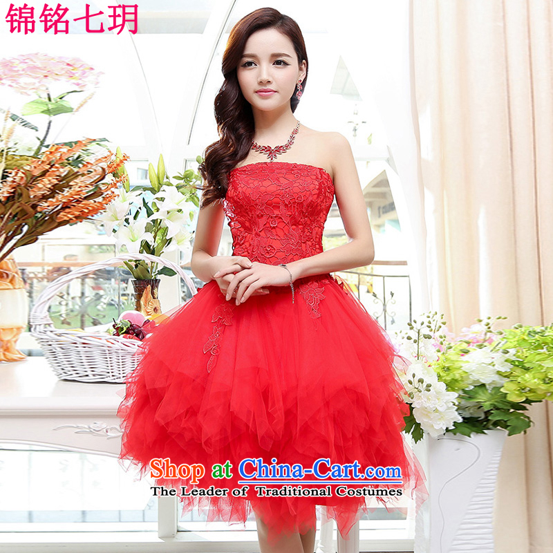 Kam Ming Yue 2015 summer seven new marriages wedding dresses bows services bridesmaid services Ms. evening dress short skirt) Red S