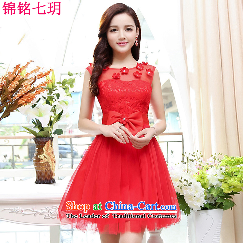 Kam Ming Yue?2015 summer seven new irrepressible wedding dresses bows services evening dress short of Ms. banquet service red?S