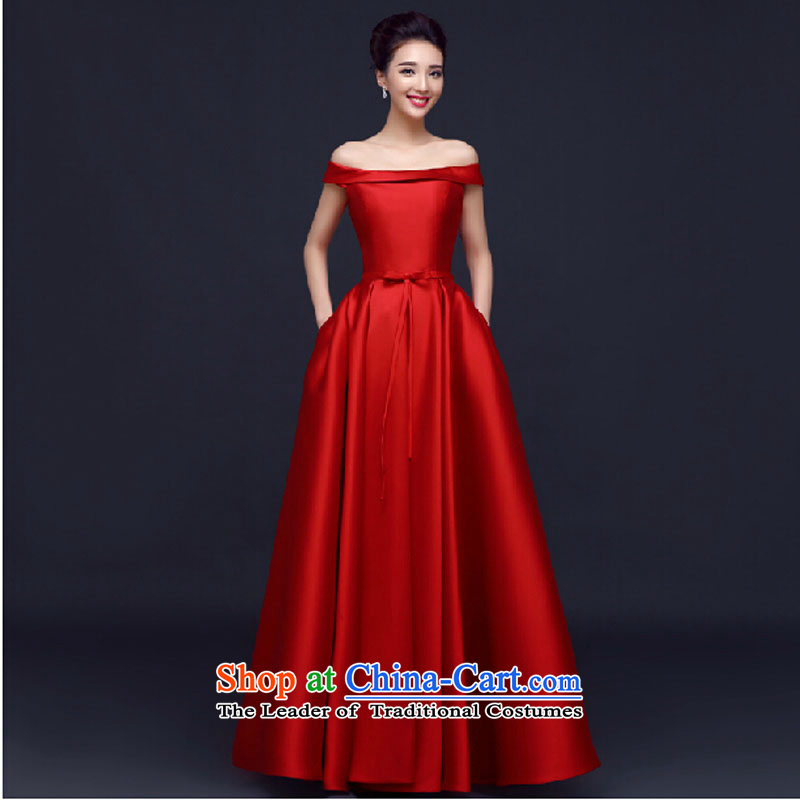 Banquet evening dresses long 2015 Spring bride bows to the annual meeting of persons chairing the word wedding dress shoulder female red long?XL