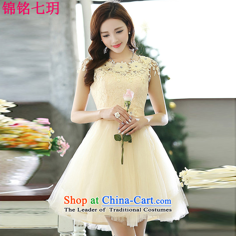 Kam Ming Yue?2015 summer seven new irrepressible wedding dresses bows services evening dress banquet service, Rice White?XL