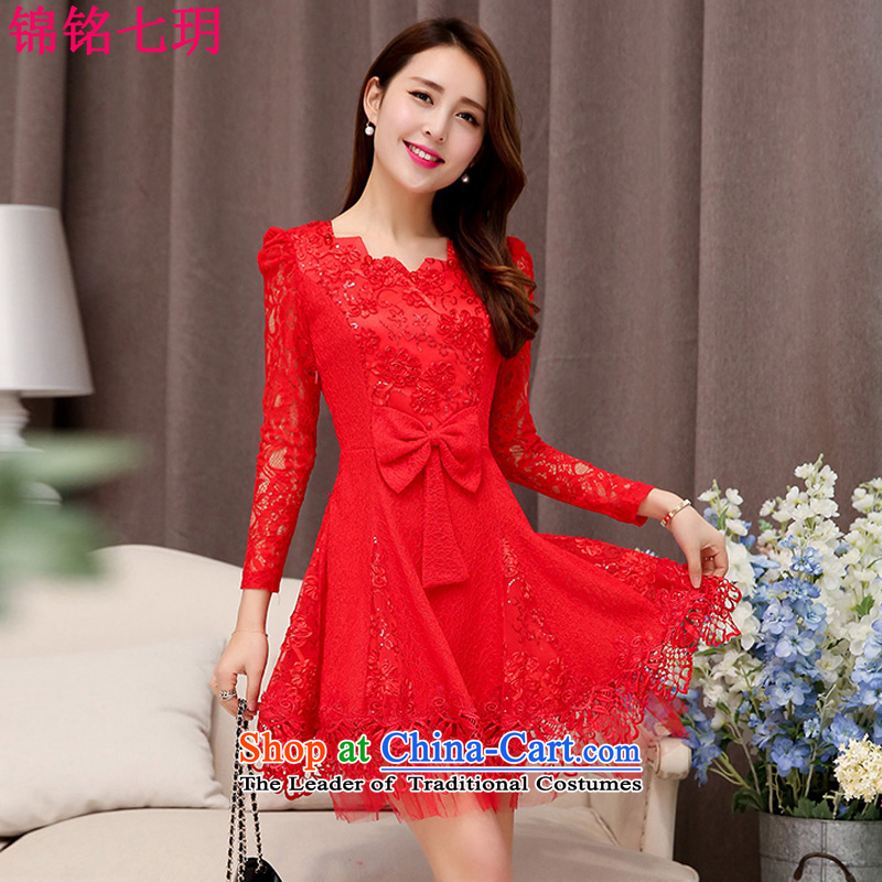 Kam Ming Yue 2015 summer seven new marriages wedding dresses bows services bridesmaid skirt dress uniform, Red M
