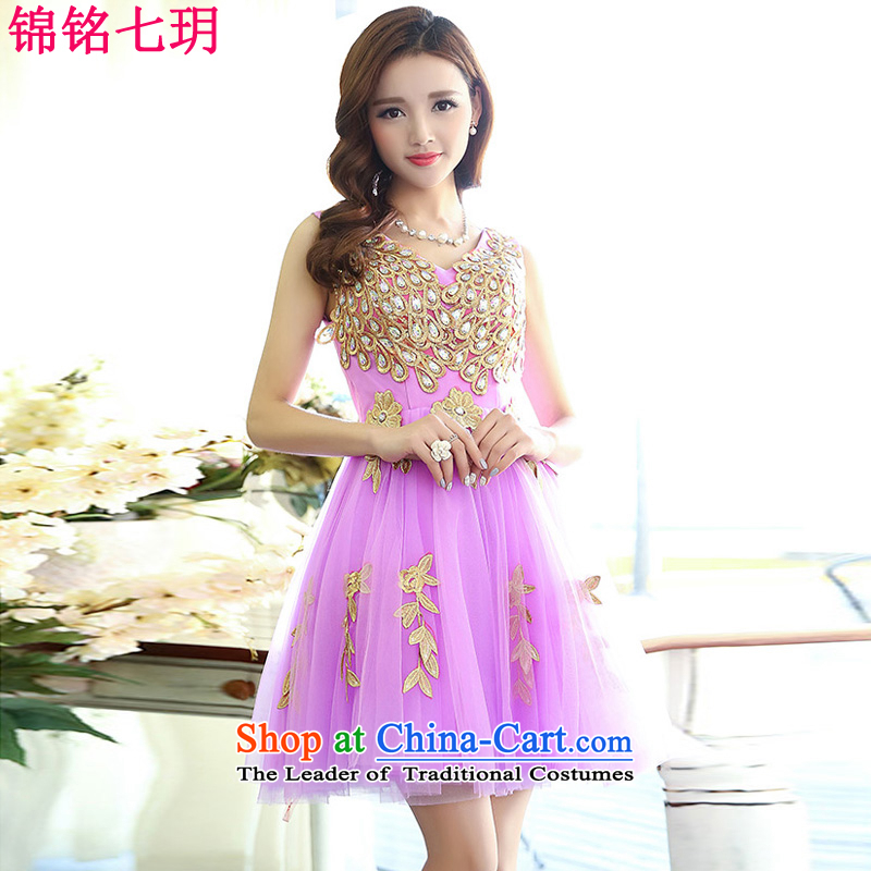 Kam Ming Yue?2015 new summer 7 sumptuous wedding dress uniform dress bows banquet service, purple?S Short Ms.