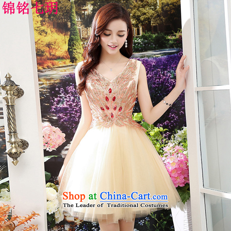 Kam Ming Yue?2015 summer seven new marriages embroidery luxurious wedding dress uniform dress bows short of Ms. apricot?M