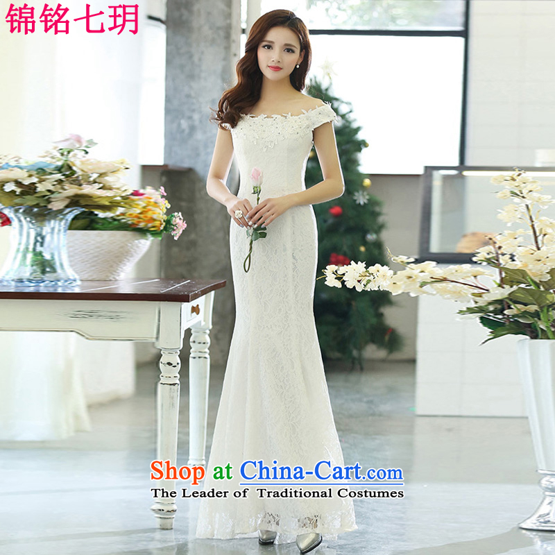 Kam Ming Yue?2015 summer seven new irrepressible sexy wedding dresses bows services evening dress banquet service, bare shoulders white?S