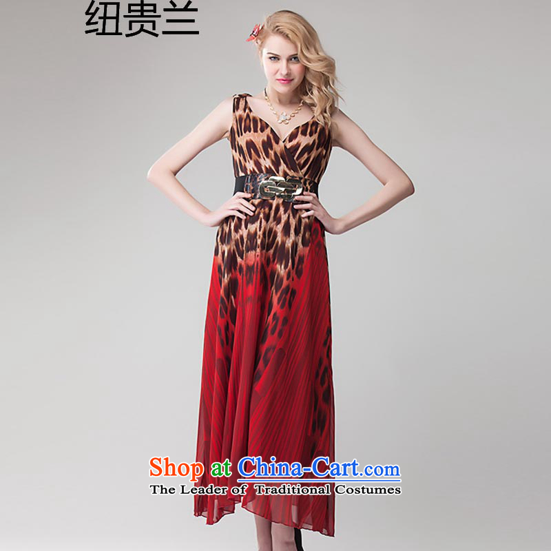 The estimated 8393# NZ 2015 Ultra spring and summer new Leopard gradients and sexy dress skirt large long skirt red?L