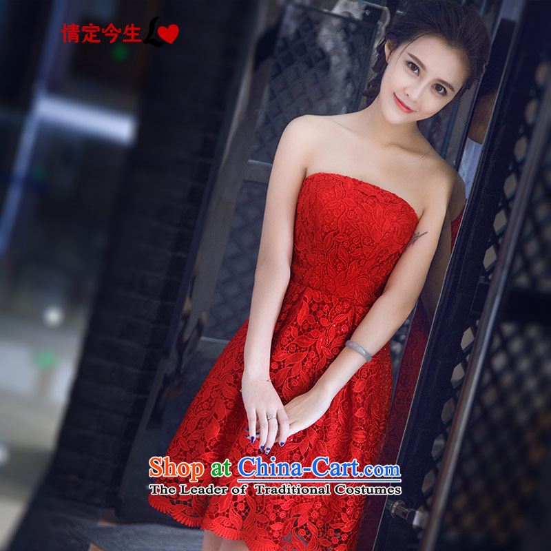 Love of the overcharged Korean 2015 Summer new retro water-soluble lace wiping the chest short, bon bon dresses red bride bows services tailor-made exclusively concept red message size