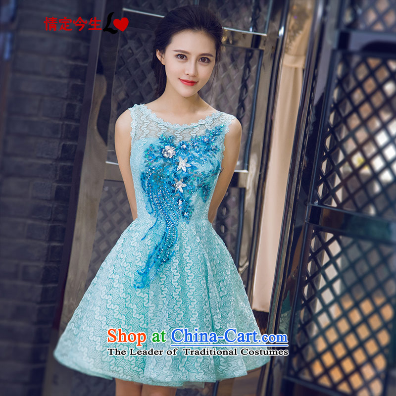 Love Of The Life of nostalgia for the summer 2015 new word shoulder round-neck collar banquet evening dresses bridesmaid small dress bon bon dresses lake green?XL