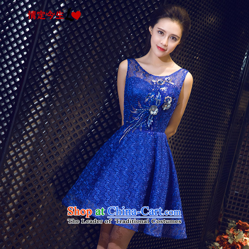 Love of the overcharged retro diamond 2015 Summer new word shoulder round-neck collar, blue short skirt bows service banquet evening dresses marriage bridesmaid services sapphire blue?XL