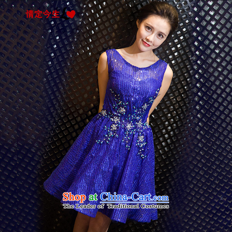 Love of the overcharged elegant nail Pearl 2015 Summer new word shoulder round-neck collar back short, bows to skirt marriage bridesmaid service banquet dinner dress Sapphire Blue?M