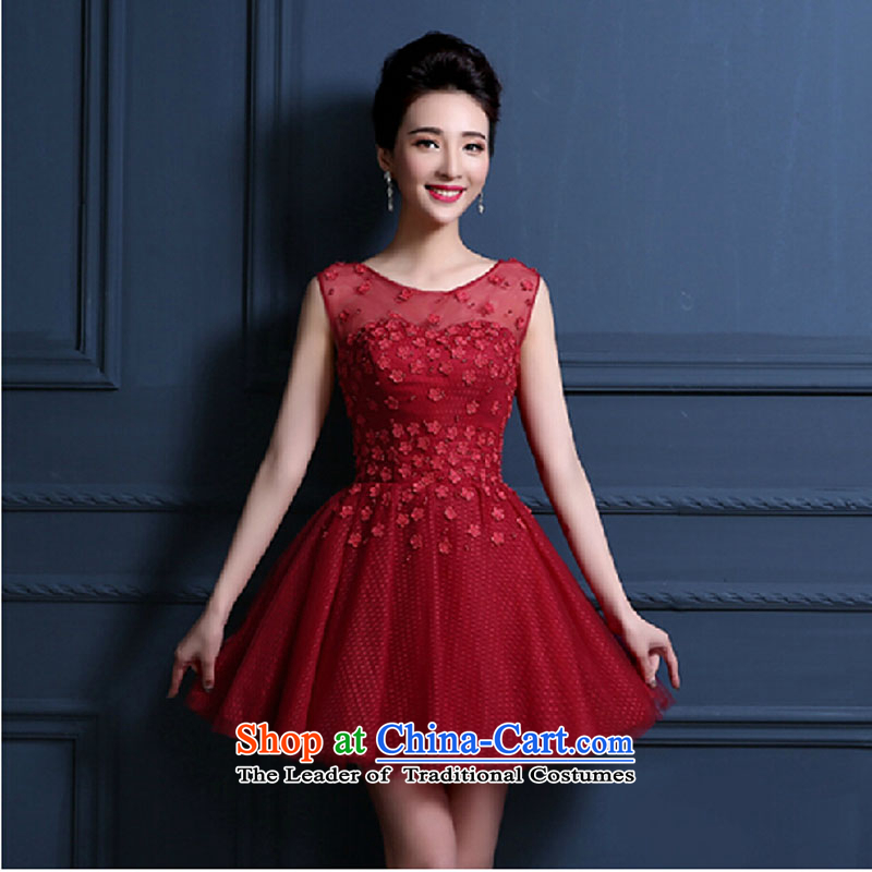 The new small spring 2015 bride toasting champagne dress uniform marriage bridesmaid service, dresses banquet evening dresses summer female deep red?M