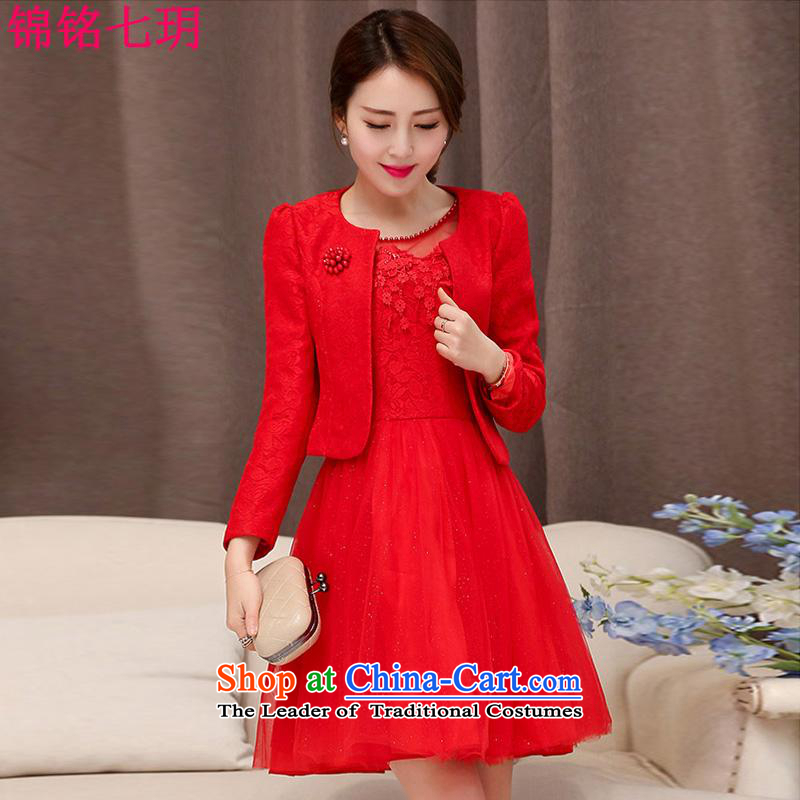 Kam Ming Yue?2015 summer seven new marriages wedding dresses bows services bridesmaid skirt dress uniform, two kits red?L