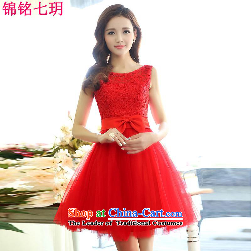Kam Ming Yue 2015 summer seven new irrepressible wedding dresses bows services evening dress short of Ms. banquet service red XL