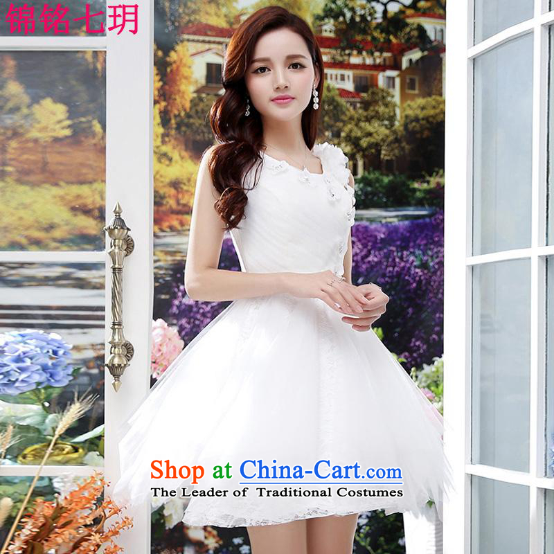Kam Ming Yue?2015 summer seven new irrepressible wedding dresses bows services evening dress short of Ms. banquet service White?M