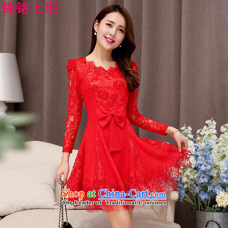 Kam Ming Yue 2015 summer seven new marriages wedding dresses bows services bridesmaid skirt dress uniform, Red L